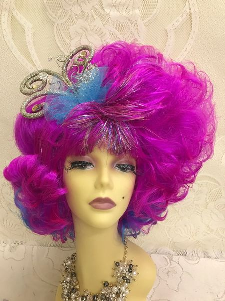 Hot Pink Show Drag Tinsel Fun Wig