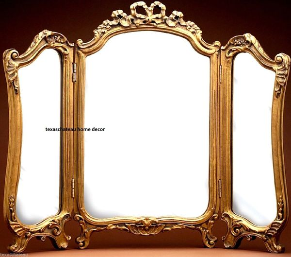 Fabulous ORNATE ARCH GOLD GILT 3-PANEL VANITY MIRROR ANTIQUE FRENCH REGENCY  LK98