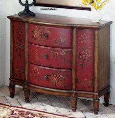 Tuscan FARMHOUSE COTTAGE ~ RED FLORAL CABINET~ Furniture Table Buffet Furniture