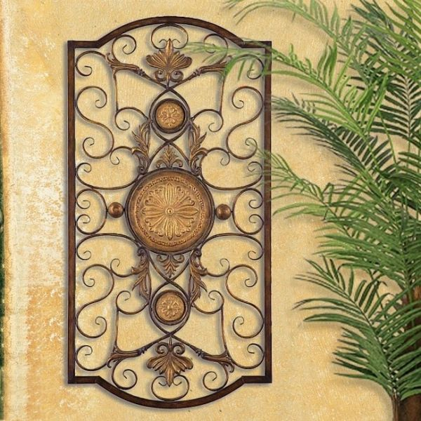LARGE TUSCAN DECOR SCROLL WROUGHT IRON METAL WALL GRILLE GRILL WALL ...