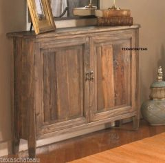 "10"" D NARROW FARMHOUSE WOOD CABINET CONSOLE CHEST ENTRY TABLE FRENCH COUNTRY NEW"