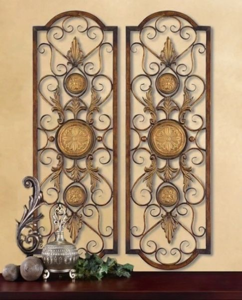 2 LARGE TUSCAN DECOR SCROLL WROUGHT IRON METAL WALL GRILLE GRILL ART PLAQUE