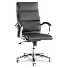 Neratoli Series High-Back Swivel/tilt Chair, Black Soft Leather, Chrome Frame