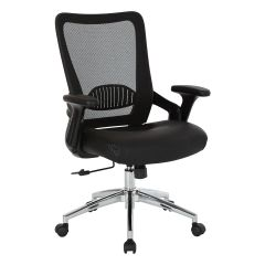 OSP Mesh back office chair with bonded leather seat. Adjustable padded flip arms and chrome base.