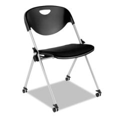 Alera Sl Series Nesting Stack Chair With Casters, Black, 2/carton