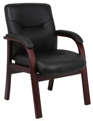 Boss Chair - Black With Mahogany Wood Top Grain Leather Guest Chair B8909