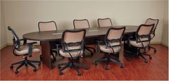 8' - 30' OSP - EXP Racetrack Conference table with grommets