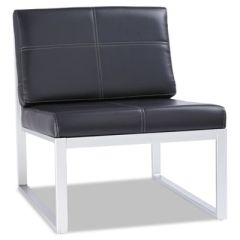 Ispara Series Armless Cube Chair, Black/silver