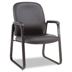Genaro Series Guest Chair, Black Leather, Sled Base