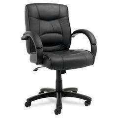 Strada Series Mid-Back Swivel/tilt Chair W/black Top-Grain Leather Upholstery