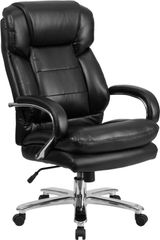 HERCULES SERIES 24/7 INTENSIVE USE, MULTI-SHIFT, BIG & TALL 500 LB. CAPACITY BLACK LEATHER EXECUTIVE SWIVEL CHAIR