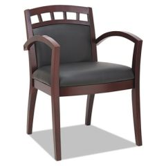 Reception Lounge 500 Series Arch Back Cut-Out Wood Chair, Mahogany/black Leather