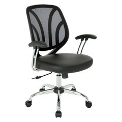 OSP work smart Mesh back task chair with faux leather seat and silver coated padded arms. 5 colors to chose from