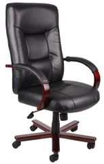Boss Chair - Black With Mahogany Wood Top Grain Leather Executive Chair B8901
