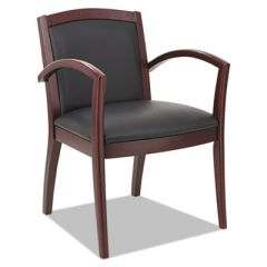 Reception Lounge 500 Series Arch Back Solid Wood Chair, Mahogany/black Leather