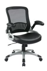 OSP Mesh back office chair with black or espresso bonded leather seat. Coated finish base and flip arms