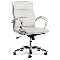 Neratoli Mid-Back Swivel/tilt Chair, White Stain-Resistant Faux Leather, Chrome