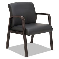 Reception Lounge Series Guest Chair, Espresso/black Leather