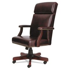 Alera Traditional Series High-Back Chair, Mahogany Finish/Oxblood Vinyl
