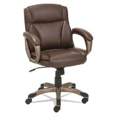 Alera® Veon Series Low-Back Leather Executive Chair w/Coil Spring Cushion, Brown