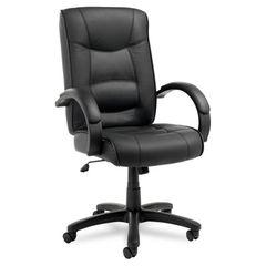 Strada Series High-Back Swivel/tilt Chair, Black Top-Grain Leather Upholstery