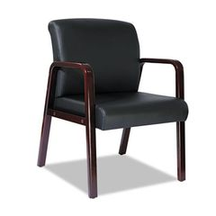Reception Lounge Series Guest Chair, Mahogany/black Leather