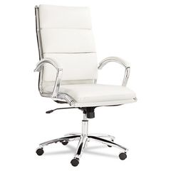 Neratoli Series High-Back Swivel/tilt Chair, White Faux Leather, Chrome