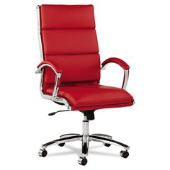 Neratoli Series High-Back Swivel/tilt Chair, Red Soft Leather, Chrome Frame