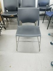 New Haworth Charcoal Grey Sled Base Guest / Stacking Chairs