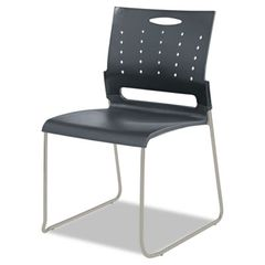 Continental Series Perforated Back Stacking Chairs, Charcoal Gray, 4/carton