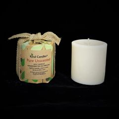 "Pure Unscented 3-1/2"" soy pillar candle"
