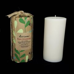 "Pure Unscented 6-1/2"" soy pillar candle"