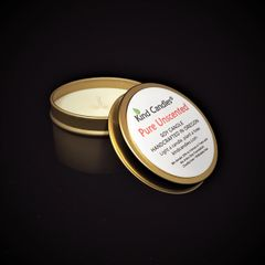 Pure Unscented gold tin soy candle