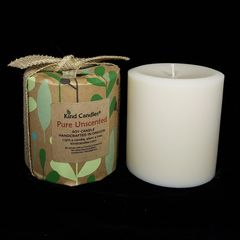 "Pure Unscented 4-1/2""x 4-1/4"" wide soy pillar candle"