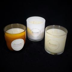 Unscented double wicked soy candle in glass tumbler