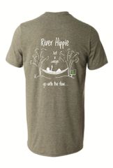 River Hippie Swingin Shirt, Short Sleeve Heather Military Green