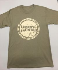 NEW Horny Hunter Tan Shirt with Kaki logo