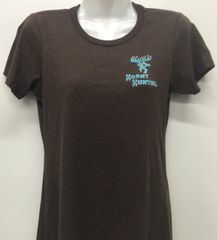 Womens Brown Shirt with Turquoise/wht Logo