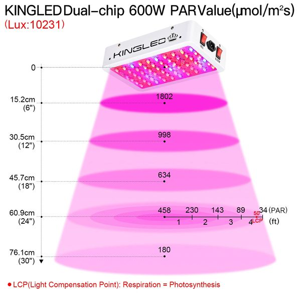 King Plus 600w Double Chips Led Grow Light Full Spectrum with UV and IR for  Greenhouse and Indoor Plant Flowering Growing