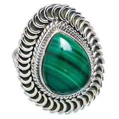 Malachite 925 Sterling Silver Ring Size 9