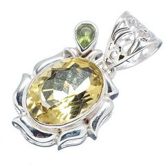 Citrine and Peridot 925 Sterling Silver Pendant