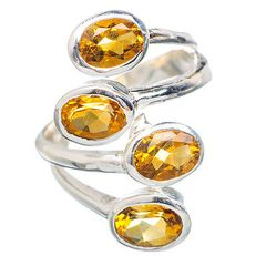 Citrine Ring 925 Sterling Silver Adjustable Size 7