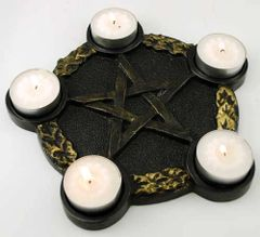 Pentacle Candle Holder Altar Plate