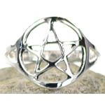 Silver Plated Solid Brass Pentacle Ring Size 7