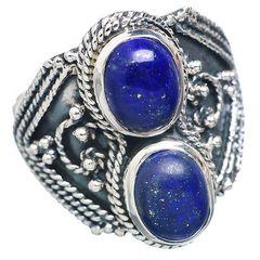 Lapis Lazuli 925 Sterling Silver Ring Size 9