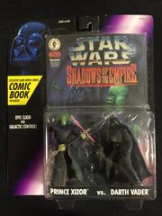 "Star Wars Prince Xizor vs Darth Vader Figurines and ""Shadows of the Empire"" Comic Book (1996)"