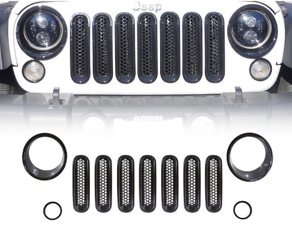 Black Front Grille Insert and Bezel Cover For Headlight and Turn Signal Light 07-17 Jeep Wrangler
