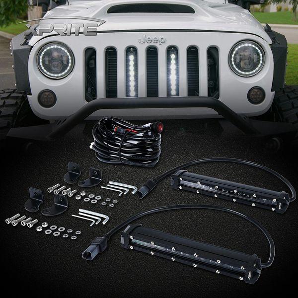 """8"""" Single Row Philips LED Grille Light Kit for 2007-2018 Jeep Wrangler JK"""