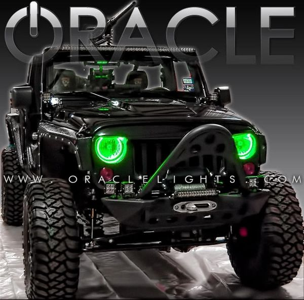 Oracle Green LED Halo Headlight Kits 07-17 Jeep Wrangler 3943