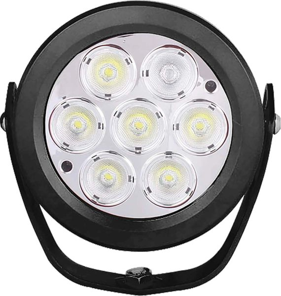 "UBLights LED, Work Lamp, Round, 6"", 7 x 10 W Diodes, 7,000 Lumens, 10V - 30V, Flood Beam"